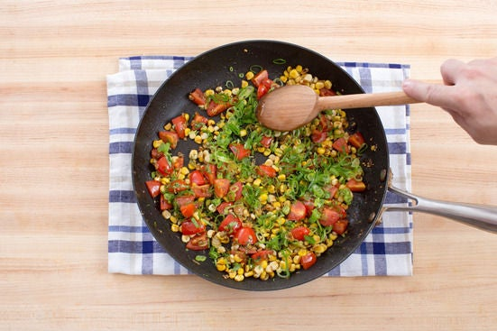 Finish the corn-tomato sauté: