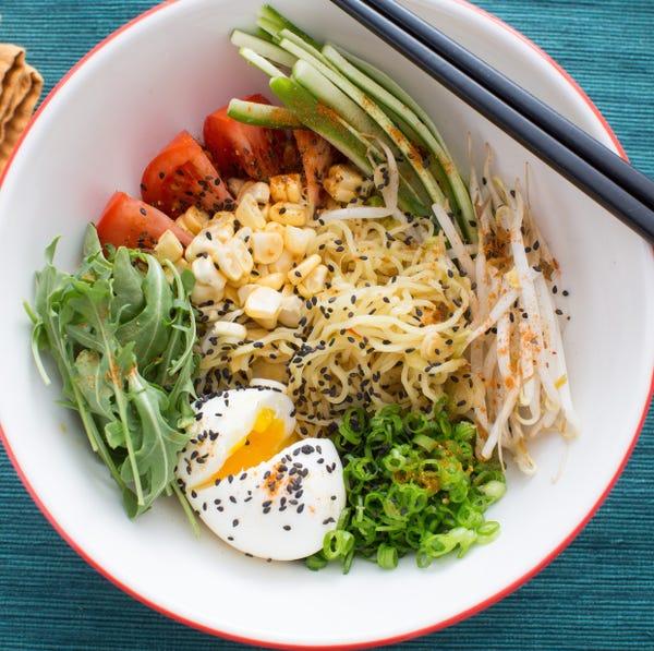 Summer Vegetable Hiyashi Chuka with Fresh Ramen Noodles & Soft-Boiled Eggs