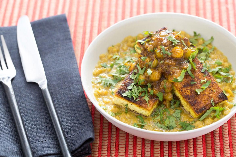 Curried Tofu with Husk Cherry Chutney & Masoor Dal