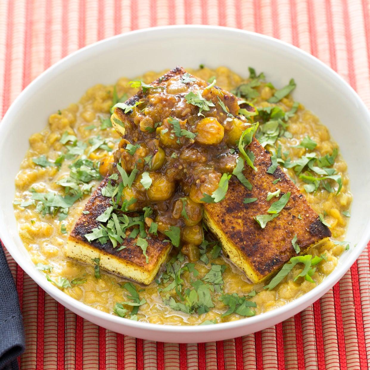 Curried Tofu with Husk Cherry Chutney & Masoor Dal - Food