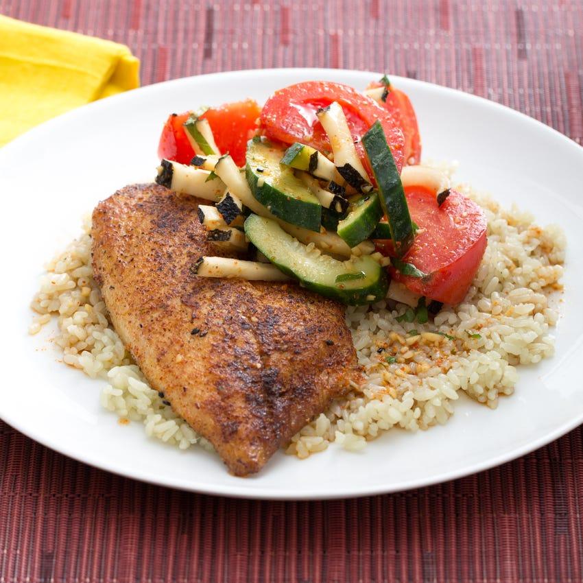 Togarashi-Spiced Tilapia & Jade Pearl Rice with Black Radish, Shiso, Tomato & Cucumber Salad