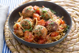 Turkey Meatballs & Linguine with Fresh Tomato Sauce & Pecorino Cheese