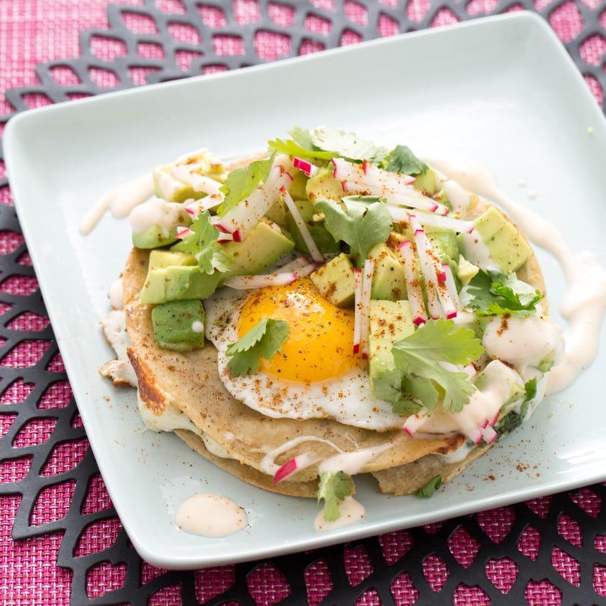 Kale & Monterey Jack Quesadillas with Avocado, Radishes & Fried Eggs