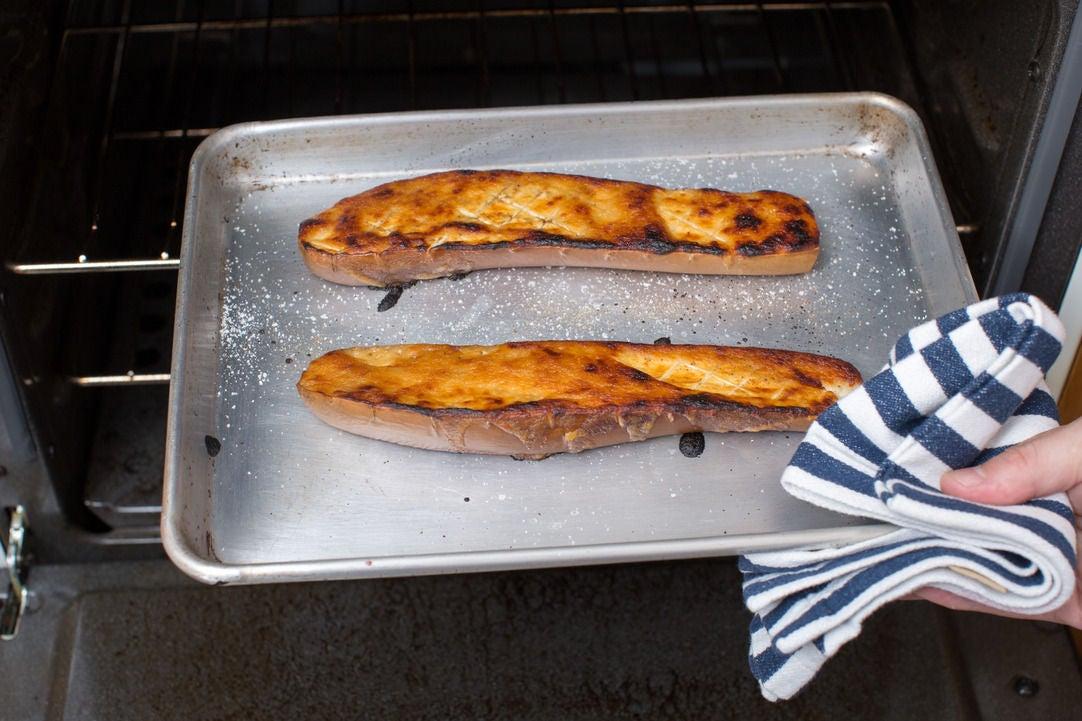 Roast the eggplant: