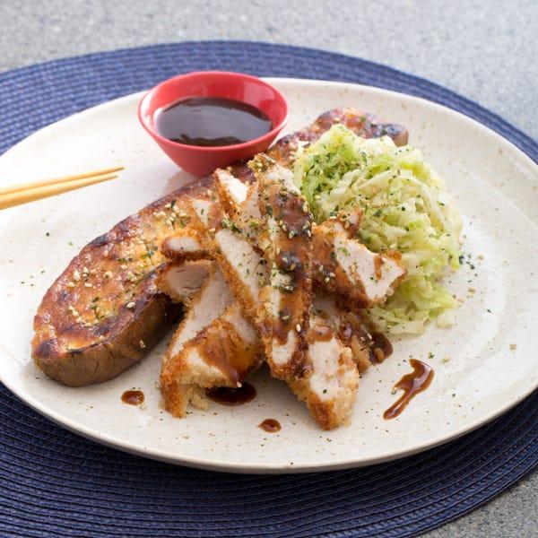 Chicken Katsu with Miso-Roasted Japanese Eggplant & Savoy Cabbage