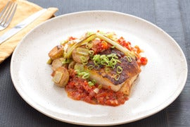 Pan-Roasted Hake & Romesco Sauce with Leeks, Scallions & Fingerling Potatoes