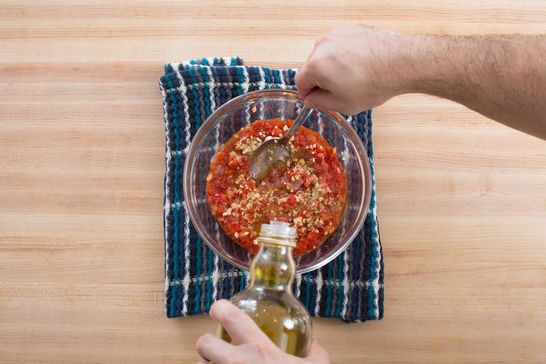 Finish the romesco sauce: