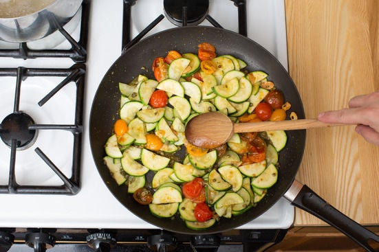 Add the zucchini & capers:
