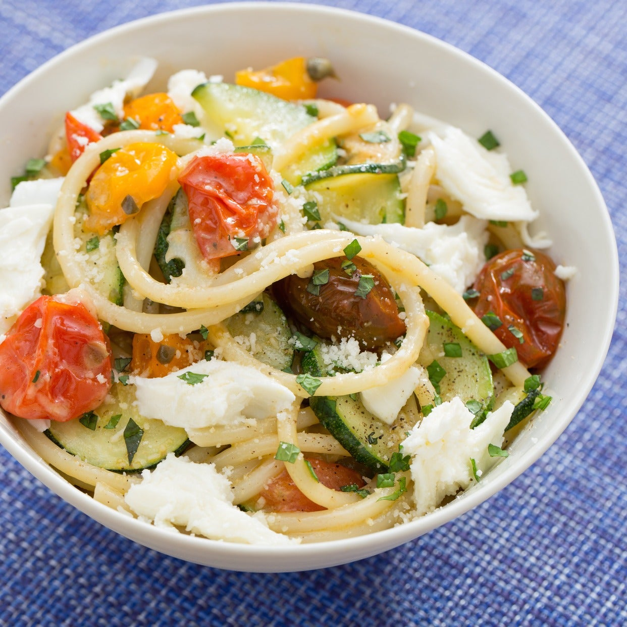 Fresh Tonnarelli Pasta & Zucchini with Heirloom Cherry Tomatoes & Fresh Mozzarella