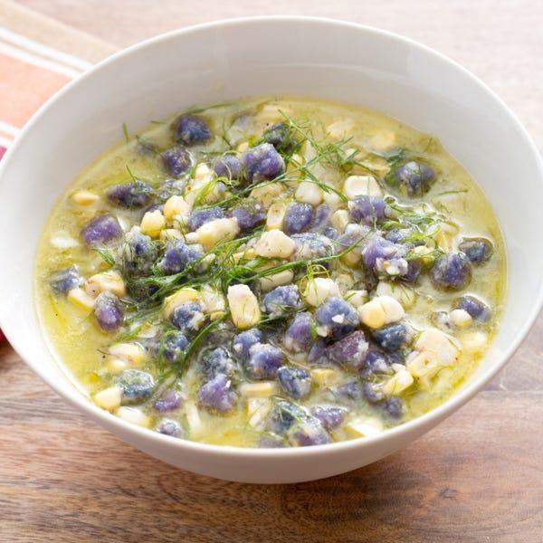 Fennel & Corn Minestra with Purple Potato & Fennel Pollen Relish