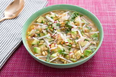 Zesty Vegetable & Finger Lime Pozole with Sweet & Spicy Pepitas