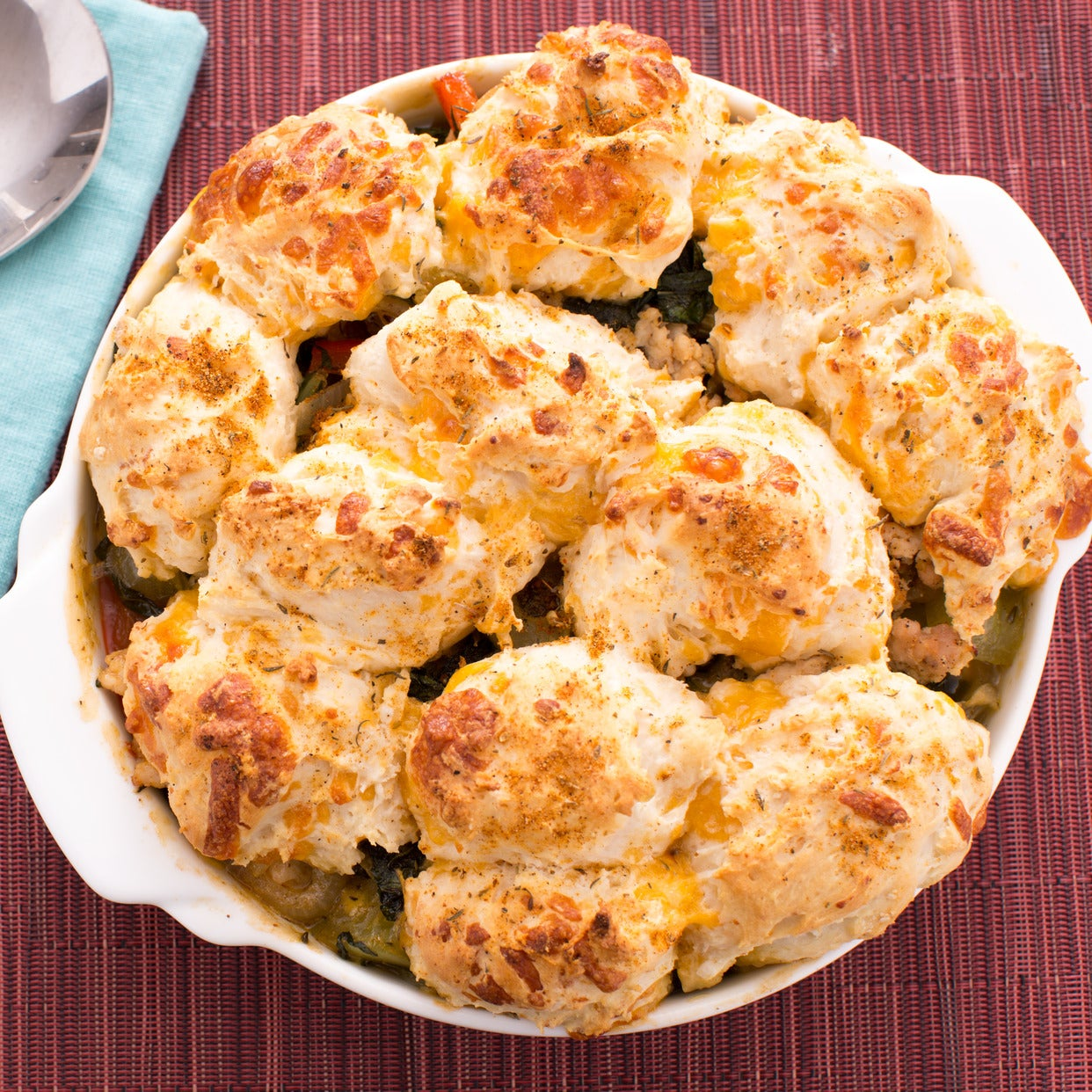 Cheddar Biscuit-Topped Chicken Casserole with Green Tomato & Collard Greens