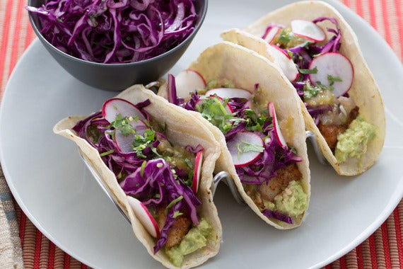 Recipe crispy fish tacos with salsa verde red cabbage for Slaw for fish tacos