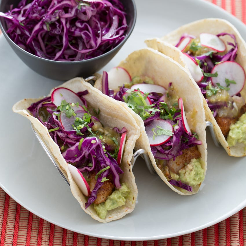 Crispy Fish Tacos with Salsa Verde & Red Cabbage Slaw