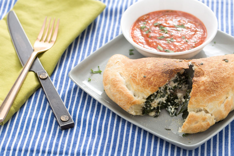 Ricotta & Lacinato Kale Calzones with Marinara Sauce