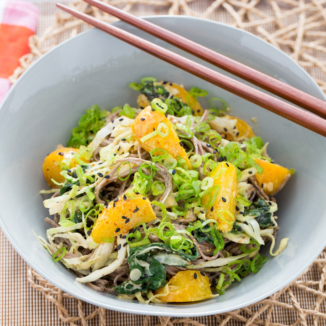 Ponzu-Tahini Soba Noodle Salad with Yellow Beet, Cabbage & Chard