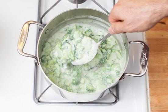 Add the broccoli & cheese: