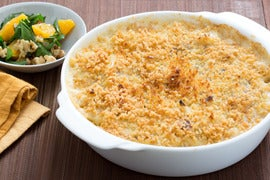 Cauliflower & Seared Endive Gratin with Parsley, Orange & Walnut Salad
