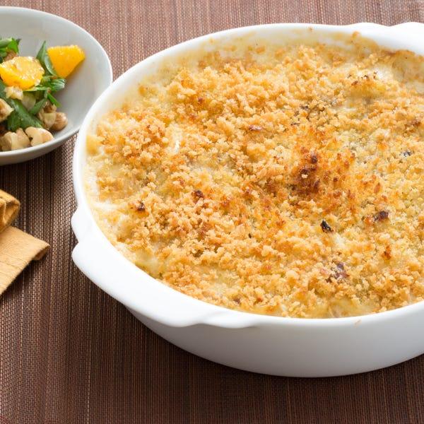 Cauliflower & Seared Endive Gratin with Parsley, Orange & Walnut Salad