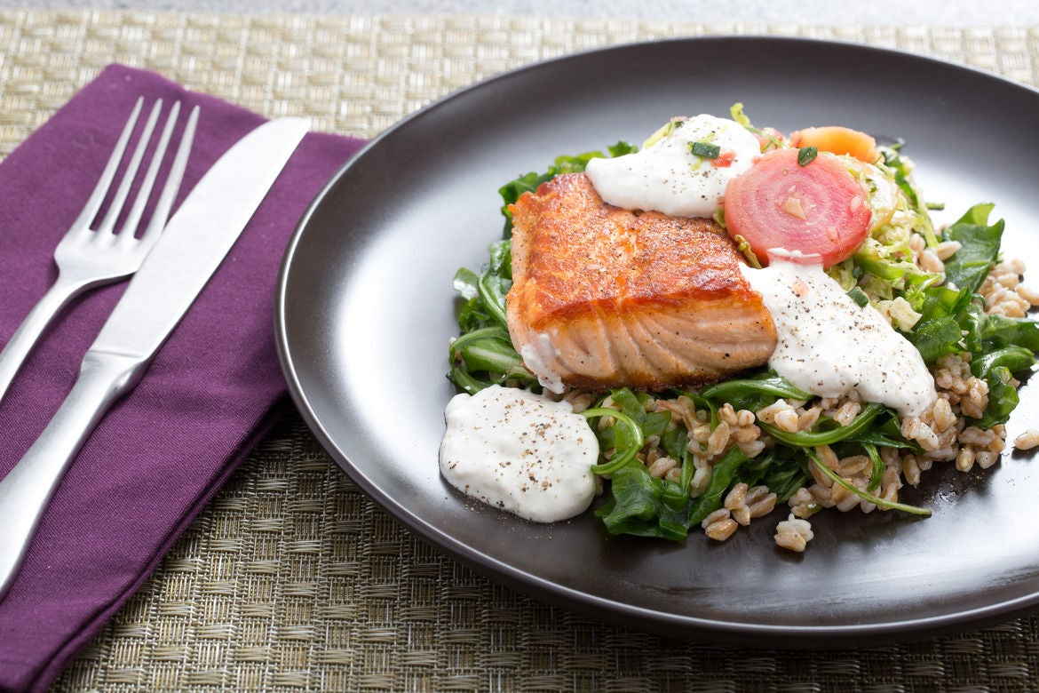 Pan-Seared Salmon with Arugula, Candy Stripe Beets & Horseradish Sour Cream