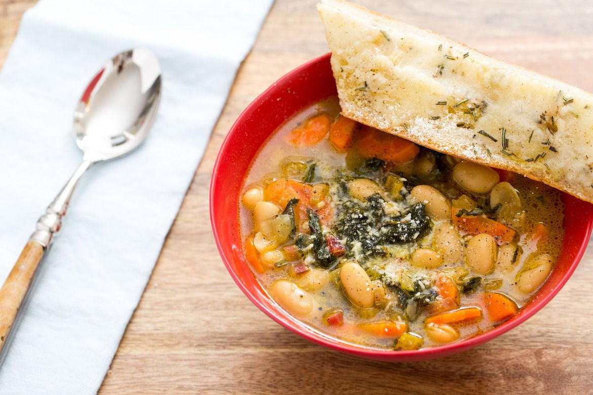 Cannellini Bean & Parmesan Soup with Rainbow Swiss Chard & Taleggio-Rosemary Toast