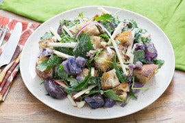 Apple & Blue Cheese Panzanella Salad with Smashed Purple Potatoes
