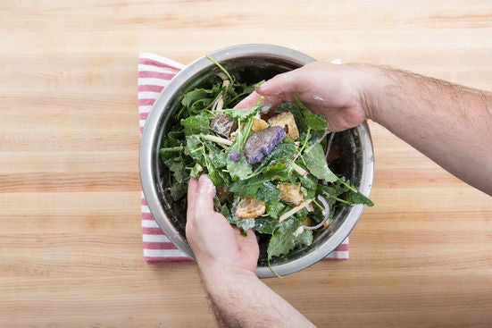 Dress the salad & plate your dish: