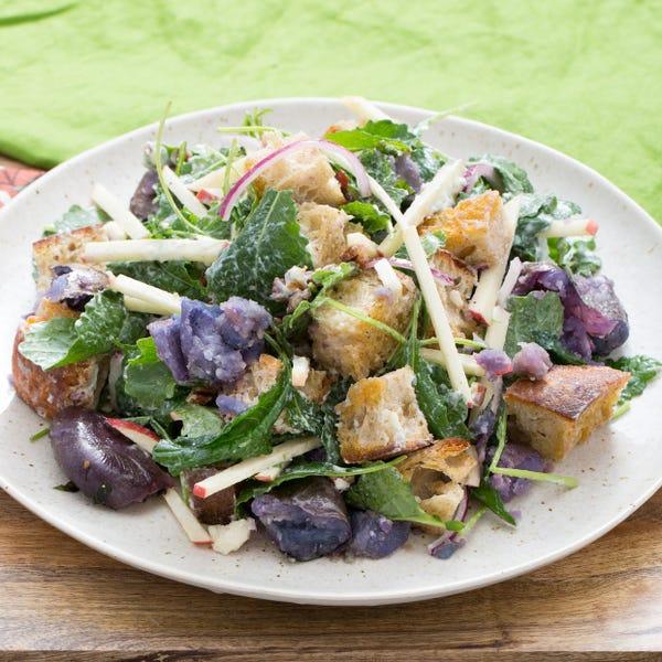 Apple & Blue Cheese Panzanella Salad with Smashed Purple Potatoes