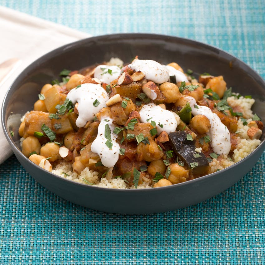 North African Eggplant Tagine with Whole Wheat Couscous & Labneh