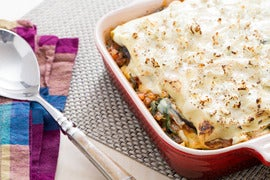 Moussaka-Style Lasagna with Eggplant & Spinach