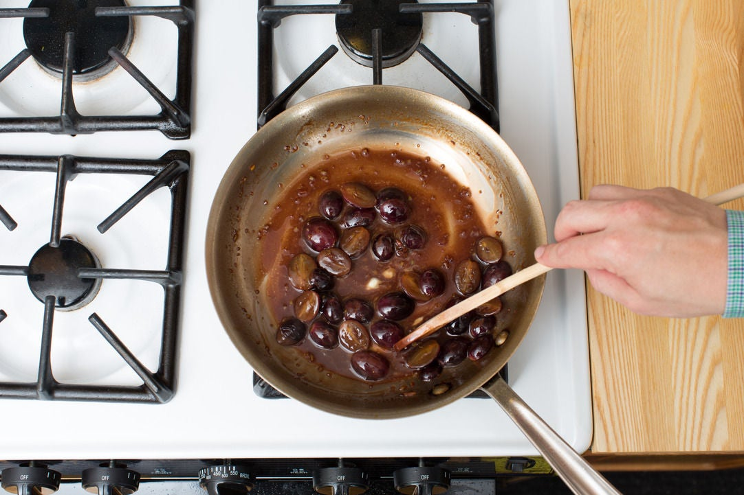 Make the saba-grape sauce: