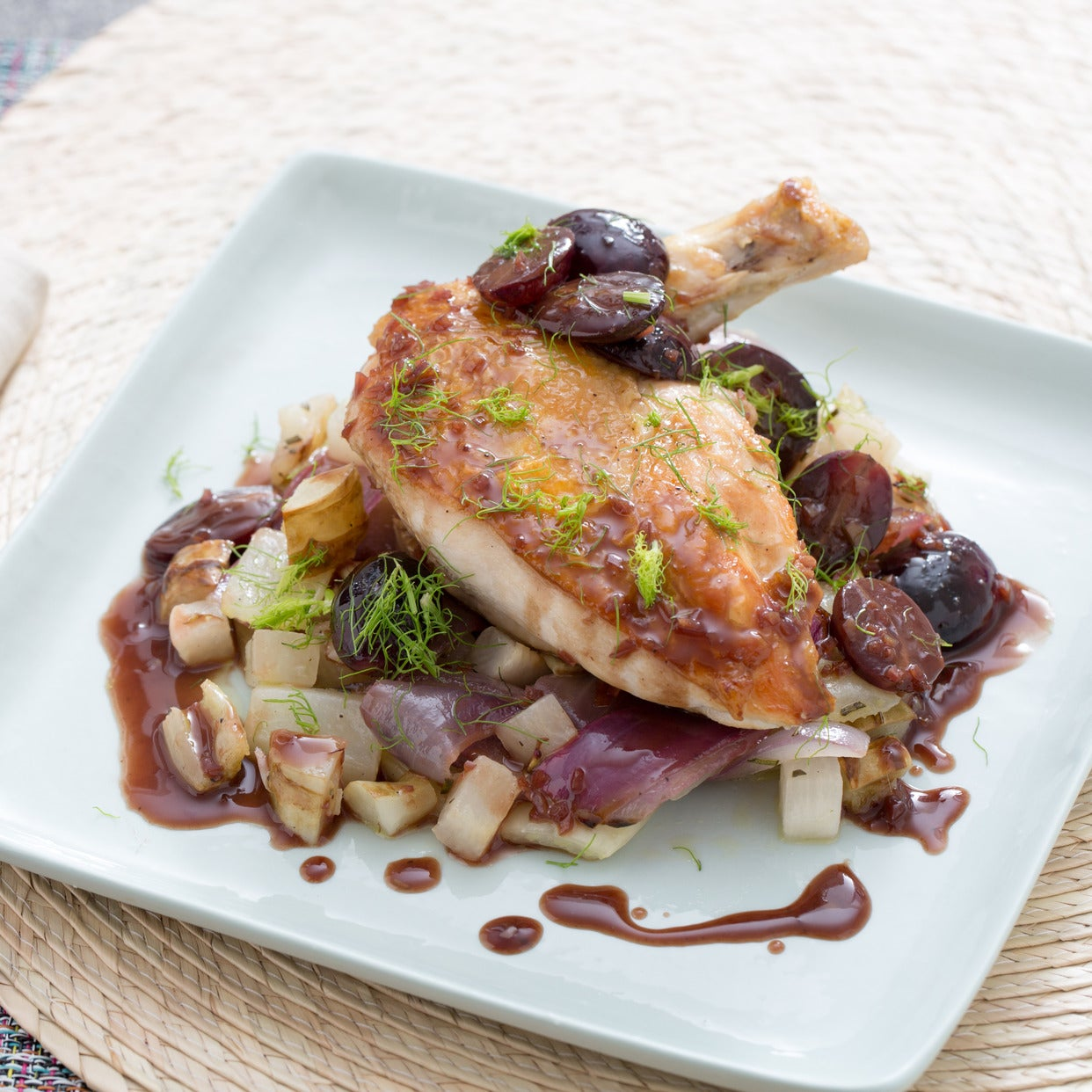 Pan-Roasted Chicken with Saba-Grape Sauce, Roasted Fennel & Sunchokes
