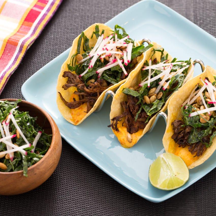 Mole-Mushroom Tacos with Lacinato Kale & Creamy Achiote Sauce