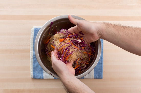 Mix the noodle salad: