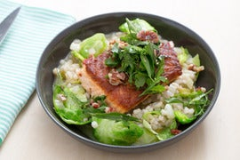 "Crispy Salmon & Barley-Fennel ""Risotto"" with Fresh Herb & Walnut Salad"