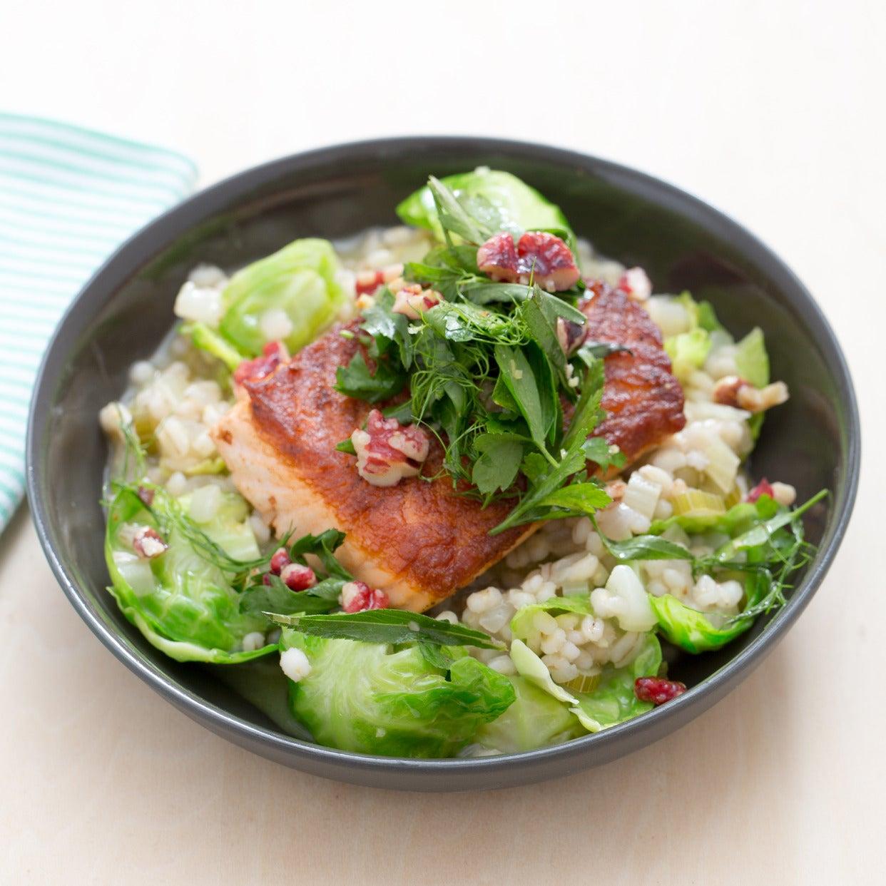 """Crispy Salmon & Barley-Fennel """"Risotto"""" with Fresh Herb & Walnut Salad"""