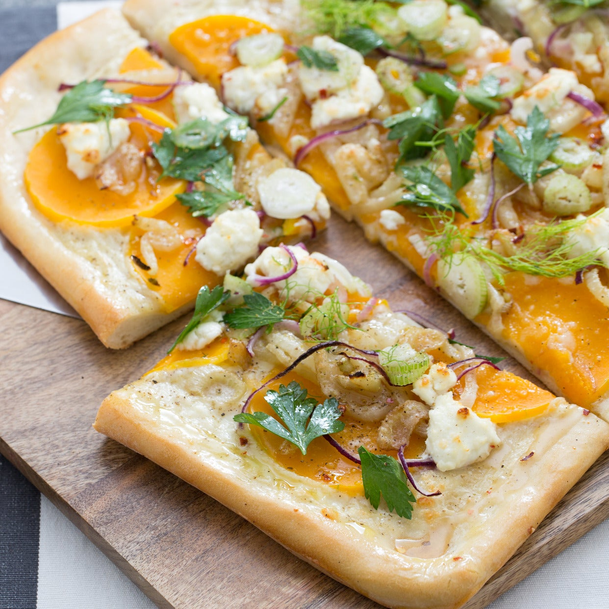 Butternut Squash & Goat Cheese Pizza with Creamy Béchamel Sauce & Caramelized Fennel