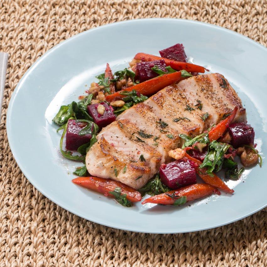 Center-Cut Pork Chops with Warm Beet, Carrot & Walnut Salad