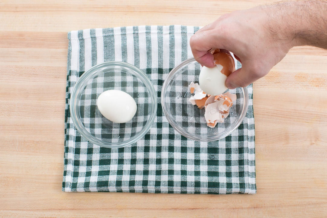 Cook & peel the eggs: