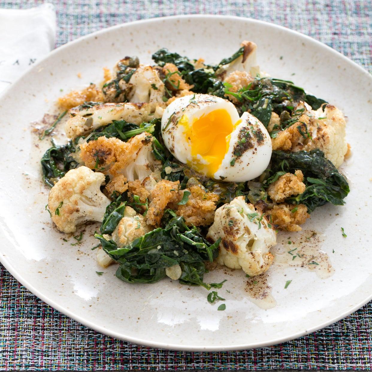 Roasted Cauliflower Meunière with Soft-Boiled Eggs & Parmesan Breadcrumbs