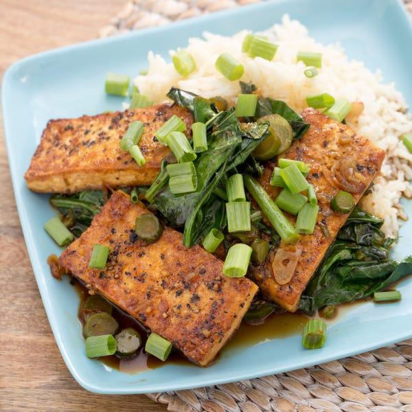 Black Pepper-Crusted Tofu with Garlic Rice & Chinese Broccoli