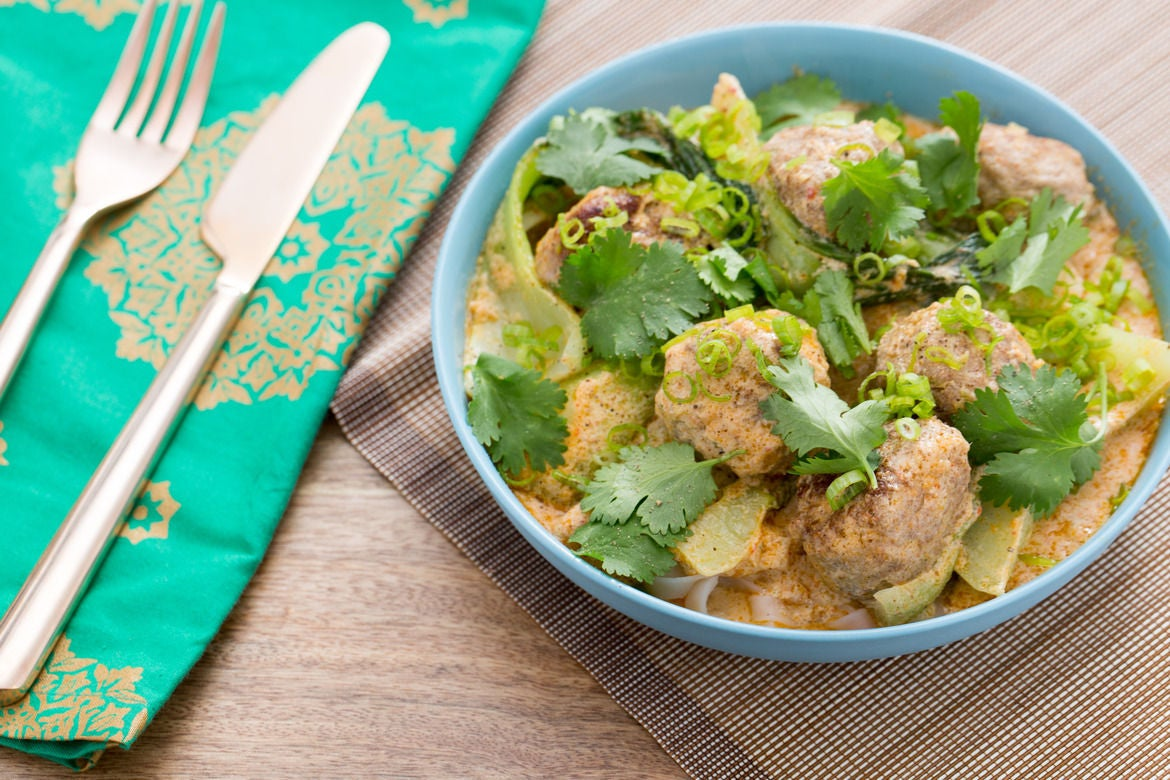 Thai Chicken Meatballs with Red Coconut Curry, Bok Choy & Rice Noodles