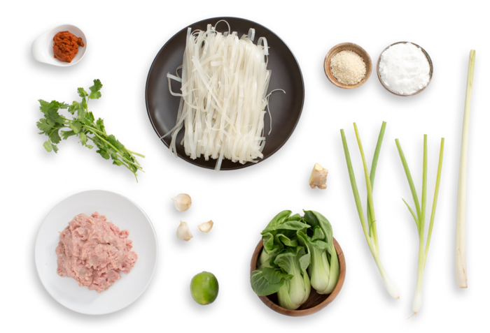 Thai Chicken Meatballs with Red Coconut Curry, Bok Choy & Rice Noodles ingredients