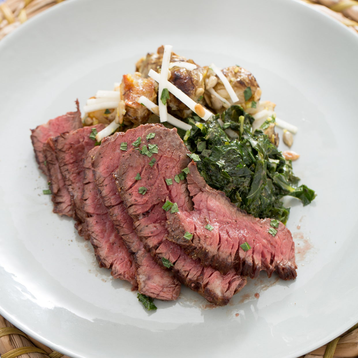 Flank Steaks & Creamed Kale with Sunchokes Two Ways