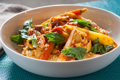 Fresh Fettucelle Bolognese with Baby Heirloom Carrots