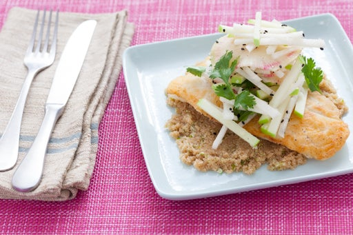 Catfish & Jicama Slaw with Amaranth & Watermelon Radish