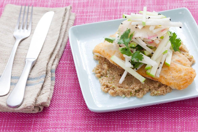 Catfish & Jicama Slaw with Amaranth & Watermelon Radish