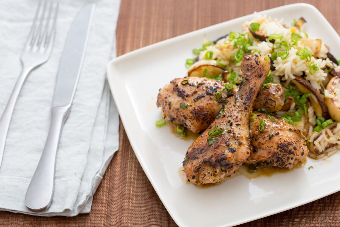 Yuzu Kosho-Glazed Chicken Drumsticks with Shiitake Mushrooms, Turnip & Rice Salad