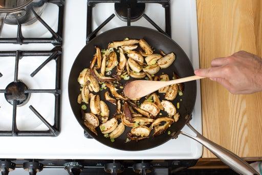 Cook the mushrooms & turnips: