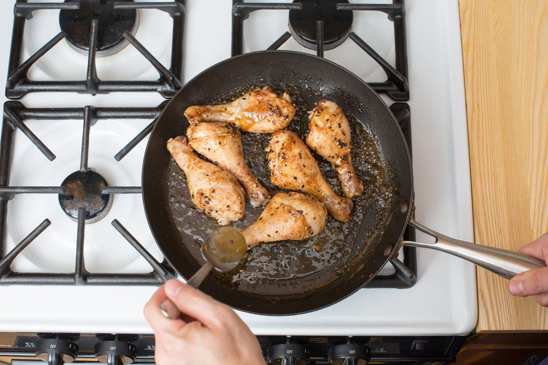Glaze the chicken & plate your dish:
